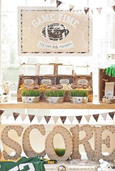 If you are looking for a perfectly chic sports themed party, you don't want to miss this darling vintage football party. Football Wedding, Football Birthday, Adult Birthday Party, 30th Birthday Parties, Football Parties, 30 Birthday, Football Party Invitations, Classy Baby Shower, Party Themes