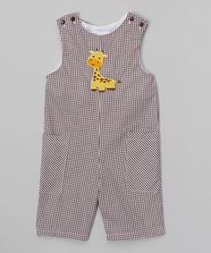 Look at this Brown Gingham Giraffe Shortalls - Infant