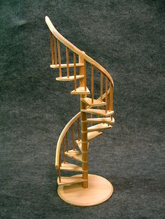 Original designed and handcrafted miniature SPIRAL STAIRCASE. It is fully assembled, ready to paint or stain or simply display in it's natural state. Fairy Furniture, Barbie Furniture, Miniature Furniture, Dollhouse Furniture, Miniature Crafts, Miniature Houses, Miniature Dolls, Popsicle Stick Crafts, Craft Stick Crafts