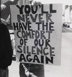 """YOU'LL NEVER HAVE THE COMFORT OF OUR SILENCE AGAIN,"" anti-Anita Bryant and Briggs Initiative protest, San Francisco, California, September 23, 1978. Photo © Jimmy Mike."