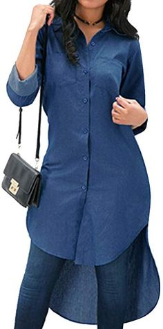 efca89f04fe2  SOMTHRON Women s Oversize Asymmetric Denim Extra Long Work Shirt Top Long  Sleeve High Low Denim Jeans Mini Shirt Dress  denimshirt  denimtop   jeansshirt ...