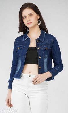 Checkout this latest Jackets & Waistcoat Product Name: *Washed women denim jacket (dark blue)* Fabric: Denim Sizes:  S (Bust Size: 36 in, Length Size: 19 in)  M (Bust Size: 38 in, Length Size: 19 in)  L (Bust Size: 40 in, Length Size: 19 in)  XL (Bust Size: 42 in, Length Size: 19 in)  Country of Origin: India Easy Returns Available In Case Of Any Issue   Catalog Rating: ★4 (349)  Catalog Name: Trendy Graceful Women Jackets & Waistcoat CatalogID_2158698 C79-SC1023 Code: 953-11483021-468