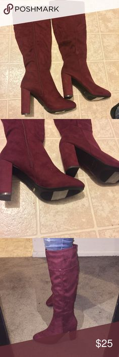 Chic Bamboo Knee-High Burgundy Boots NWOT Beautiful faux-suede boots. Unique color and style that makes them fun and flirty. Heel size: 4 inches. Shoe Length: 20 inches. I am 5'2 for reference. The shoes looks different shades of red under different lighting so please examine photos carefully. The brand is Bamboo but purchased them through Modcloth. Thank you! ModCloth Shoes Heeled Boots