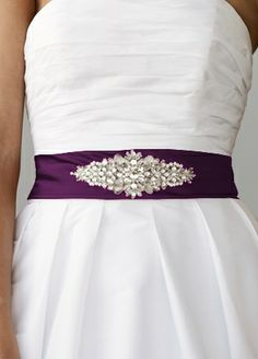 Purple Satin Sash with Rhinestones - $30 :  wedding new rhintstones sash S11 S3029 2 Psd  (This is the one I liked the most at David's when I bought the dress... hmmm)