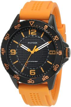Tommy Hilfiger Men's 1790837 Sport Black IP Case with orange silicon strap Watch ** Want to know more, click on the image.