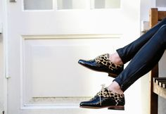 O'Quirey   #black #leopard #brogues #leather