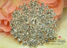 Large Silver Crystal Brooch  Wedding Brooch   by DIYBoutiqueSupply, $5.95