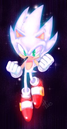 Hyper sonic, the second level after Super Sonic, once the chaos emerals have been charged.