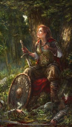 Reward by Allnamesinuse female fighter solider sword shield fairy pixie magic ring forest woods armor clothes clothing fashion player character npc | Create your own roleplaying game material w/ RPG Bard: www.rpgbard.com | Writing inspiration for Dungeons and Dragons DND D&D Pathfinder PFRPG Warhammer 40k Star Wars Shadowrun Call of Cthulhu Lord of the Rings LoTR + d20 fantasy science fiction scifi horror design | Not Trusty Sword art: click artwork for source