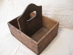 Vintage Wooden Tool Carrier Box with Handle by thefarmroad on Etsy, $32.00