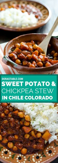 This Mexican sweet potato and chickpea stew combines sweet potatoes, yukon gold potatoes and chickpeas in a classic chile colorado sauce. Vegan and gluten-free.