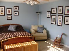 My attempt at a blue and brown bedroom.  More frames have been added since.  Gives it a gallery feel for cheap.