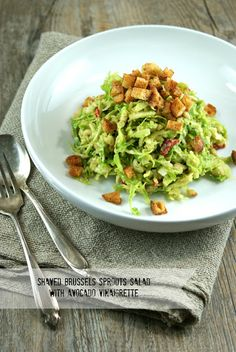 Shaved Brussels Sprouts Salad with Avocado Vinaigrette + Weekly Inspirations - Authentic Suburban Gourmet