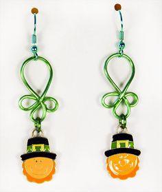 ST PATRICK EARRINGS, St Patrick jewelry, Irish earrings, Irish jewelry, green earrings, green jewelry, Leprechaun earrings - 1490HO by EarringsBraceletsEtc on Etsy