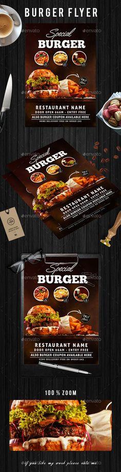 Burger #Flyer - #Restaurant Flyers Download here: https://graphicriver.net/item/burger-flyer/19712016?ref=alena994