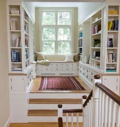 home library with window seat - this is our landing with double doors instead of windows. Love this cozy nook Style At Home, Sweet Home, Home Libraries, Cozy Nook, Cozy Corner, Tv Nook, Cosy, Built Ins, Home Fashion