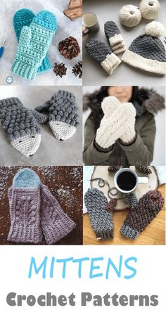 Mittens Crochet Patterns – Great Cozy Gift - A More Crafty Life Crochet Mittens Pattern, Loom Knitting Patterns, Crochet Gloves, Knit Mittens, Crochet Patterns, Crochet Socks, Crochet Purses, Crochet Ideas, Crochet Pillow Cases