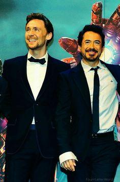 Tom Hiddleston and Robert Downey Jr.