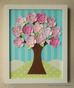 Paper tree collage, colors perfect for nursery! Fun Crafts, Diy And Crafts, Crafts For Kids, Arts And Crafts, Paper Crafts, Scrapbook Wall Art, Scrapbook Paper, Scrapbooking, Tree Collage