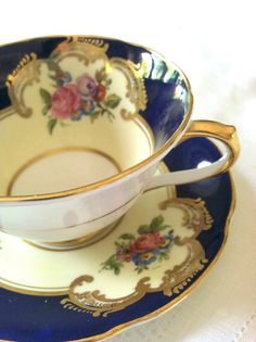 Reserved for Andrew/Antique Collingwood Cobalt Blue Fine Tea Cup and Saucer… Teapots And Cups, Teacups, Vintage Tea, Vintage China, China Tea Cups, Tea Service, My Cup Of Tea, Coffee Set, Chocolate Pots