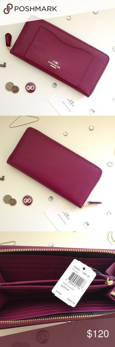 Leather Zip Wallet Clack leather zip wallet in fuchsia! Gorgeous rich color! Perfect for fall! NWT. Coach Bags Wallets