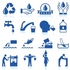 Water conservation royalty free vector icon set vector art illustration