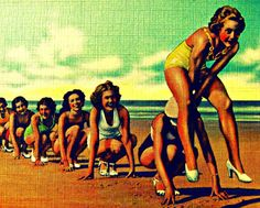 Sale Photography 8x10 color beach print LEAP FROG vintage girls photo 1940s art deco home decor green aqua yellow orange beach lover gift. $22.00, via Etsy.