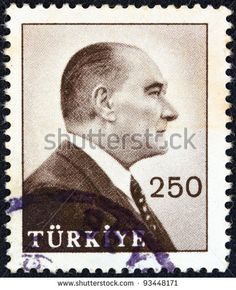 TURKEY - CIRCA 1959: A stamp printed in Turkey shows a portrait of Kemal Ataturk, circa 1959. - stock photo