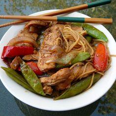 Pork and vegetables are stir-fried in a sesame oil sauce and tossed with linguine for a quick Asian-inspired dinner. Pork Tenderloin Recipes, Pork Recipes, Asian Recipes, Cooking Recipes, Ethnic Recipes, Stir Fry Recipes, Chinese Recipes, Tenderloin Pork, Roast Brisket