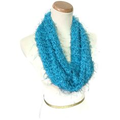 Blue Cowl, Knit Scarf, Neck Warmer, Infinity Scarf, Knit Cowl, Hand... ($28) ❤ liked on Polyvore featuring accessories and scarves