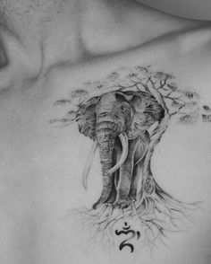 Elephant Chilling With A Tree Tattoo On Chest By Tritoan Seventhday
