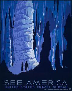 See America US Travel Bureau silk screen by PanchromaticaDesigns
