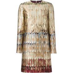 Valentino 'Feathered Colour' shift dress ($1,888) ❤ liked on Polyvore featuring dresses, vestidos, vestiti, brown, back zipper dress, long sleeve shift dress, round neck long sleeve dress, long-sleeve shift dresses and long sleeve dress