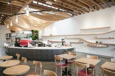 dinosaur coffee shop silverlake / sfgirlbybay Shop Interiors, Restaurant Interiors, Alcohol Bar, Tv Wall Decor, Interior Architecture, Interior Design, Wall Bar, Cafe Shop, Coffee Cafe