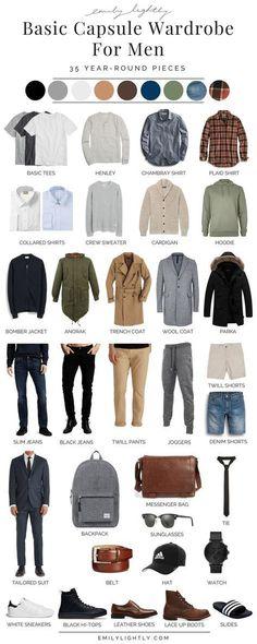 A Basic Year-Round Capsule Wardrobe for Men. # mens dressy Casual Outfits A Basic Year-Round Capsule Wardrobe for Men Capsule Wardrobe Men, Men's Wardrobe, Mens Wardrobe Essentials, Wardrobe Basics, Wardrobe Ideas, Capsule Clothing, Wardrobe Furniture, Bedroom Wardrobe, Wardrobe Staples