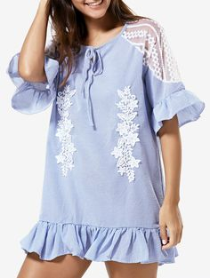Lace Splice Half Sleeve Ruffled Dress