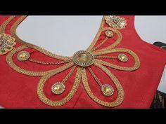 Designer lace blouse cutting &stitching back side/blouse design Blouse Back Neck Designs, Patch Work Blouse Designs, Hand Work Blouse Design, Simple Blouse Designs, Stylish Blouse Design, Neckline Designs, New Saree Blouse Designs, Blouse Neck Models, Designer Blouse Patterns