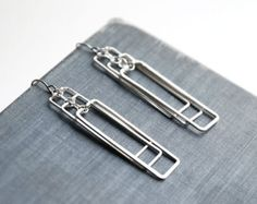 Silver Geometric Earrings - long minimalist art deco, lightweight, Great Gatsby, simple modern, rectangular - Cascading Rectangles
