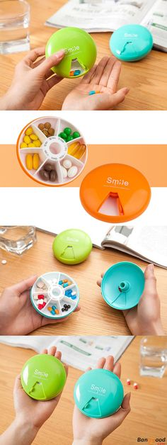 US$3.86 + Free Shipping. 7 Compartments Pill Organizer. 5 colors available. Shop at banggood. #fitness#happiness#housekeeping#organizer#organization