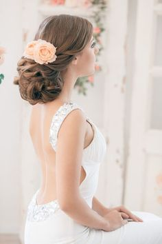 Wedding Hairstyles ~ Updo & low back gown