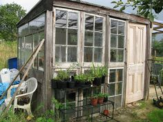 From old wooden windows. I have old windows out in the shed to make one of these some day...
