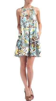 Box Pleated Short Dress, Blue Paisley