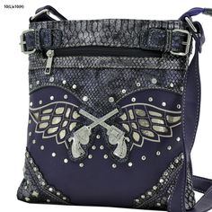 Perfect purse for any woman who's a pistol. Red or purple with rhinestone accents. Top zipper closure with two top compartments as well as a back concealed weapon zipper pouch. Single shoulder strap/messenger style/cross body. 10 x 10.    Please checkout quickly as our system doesn't hold invoices. First one to pay is left holding the bag and here, that's a good thing :)  | Shop this product here: spreesy.com/leftholdingthebag/2 | Shop all of our products at…