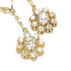 Antique Diamond Dangle Earrings, c. 1890 @rubylanecom #diamonds #rubylane