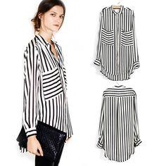 Stylish Women's Blouse Button Down Shirt Exaggerate Front Pockets Asymmetry Hem | eBay