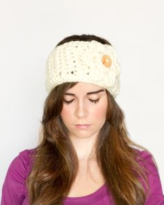 Charmfully Chunky Flower & Earwarmer Crochet Pattern via Hopeful Honey
