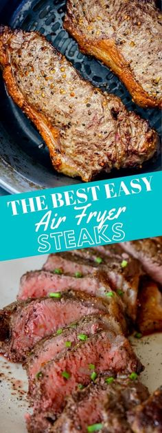 The Best Air Fryer Steaks - Instant Pot #instantpot #maindishes Roast Recipes, Pork Chop Recipes, Easy Dinner Recipes, Easy Meals, Yummy Recipes, Dinner Ideas, Recipies, Broiled Lobster Tails Recipe, Easy Baked Pork Chops