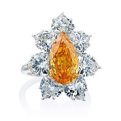 This season calls for the magnificent color of the Fancy Orange Pear Shape Diamond Ring by #WilliamGoldberg.