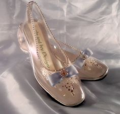 Glass Slipper Lace Cinderella Shoes Crystal by lambsandivydesigns