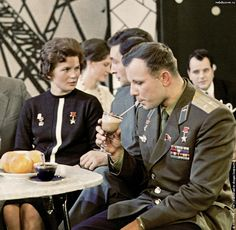 Soviet Union Cosmonauts Yuri Gagarin and Valentina Tereshkova photographed together in 1965.  Gagarin, the first man in space, had accomplished his feat in 1961, while Tereshkova, the first woman to do so, would follow in 1963.  In 1968 Gagarin would be killed during Soviet flight training.